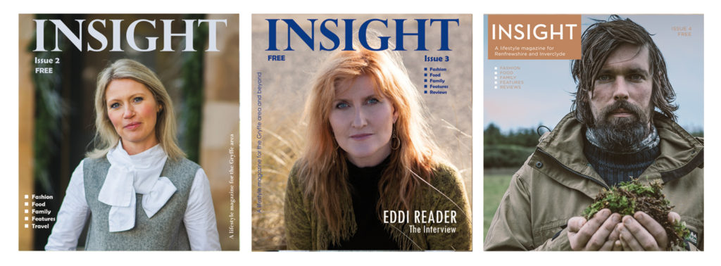 Covers of INSIGHT Magazine issues 2-4 featuring Gillian from The Sourcery, singer songwriter Eddi Reader and Paul McCusker of Primal Adventures Luxury Travel